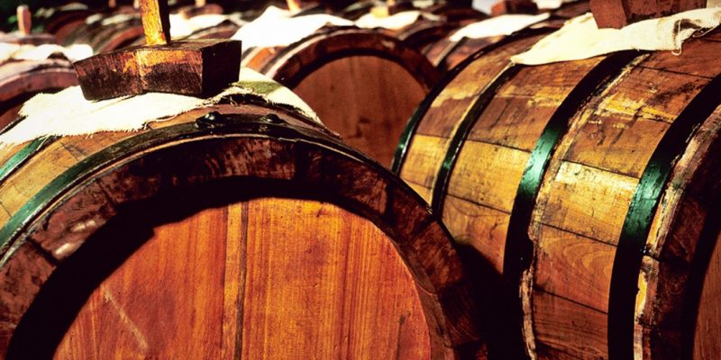 Balsamic vinegar in barrels